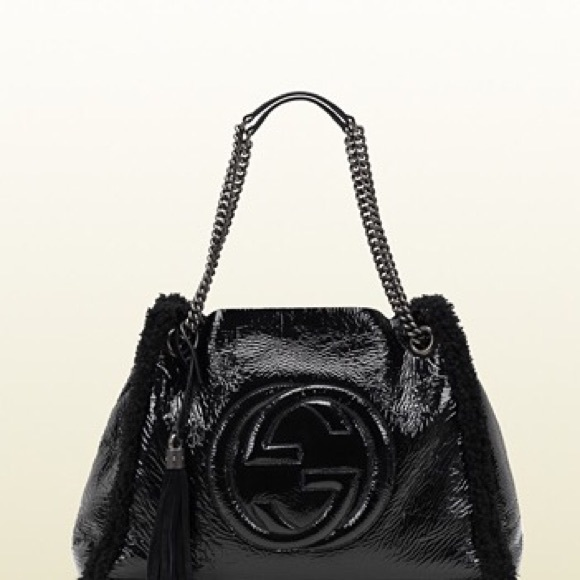 Gucci Handbags - GUCCI SOHO Crushed Patent Leather Shoulder Bag